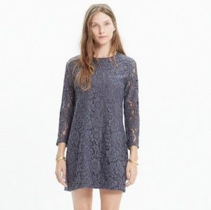 Madewell Gray Floral Lace Shift Dress